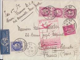 1° Service Postal Aérien France-Etats Unis Obl. Paris 92 Le 23/5/39 Sur N° 369 Paix, 374, 376 Cérès = Tarif à 12F25 - Airmail