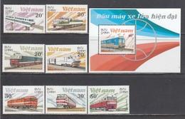 Vietnam 1988 - Locomotives, Mi-Nr. 1966/72+Bl. 65, Dent., MNH** - Vietnam