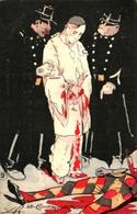 Illustration Indéterminée, Signé LR La Confrontation, Gendarme Pierrot Assassin Arlequin - Illustrateurs & Photographes