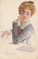 CPA Femme Lady Glamour Women Girl Enveloppe Lettre Illustrateur Italien A.M. SIMONETTI (2 Scans) - Illustrators & Photographers