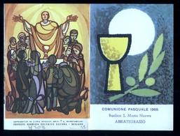 SANTINO COMMEMORATIVO DOPPIO -  COMUNIONE PASQUALE  -  ABBIATEGRASSO 1965  ( H303 ) - HOLY CARD - IMAGE PIEUSE - Santini