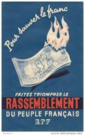 AFFICHE POUR SAUVER LE FRANC     RPF - Afiches