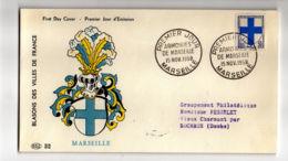 ENV216 - Blason Marseille - 1958 - Marseille - FDC