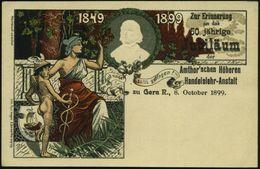 GRIECHISCHE & RÖMISCHE MYTHOLOGIE : Gera 1899 (8.10.) PP 5 Pf. Krone, Grün: 50. Jubiläum Der Amthor'schen Höheren Handel - Mythologie
