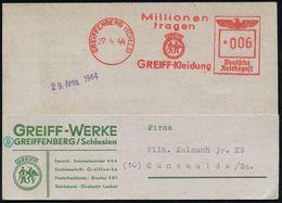 GRIECHISCHE & RÖMISCHE MYTHOLOGIE : GREIFFENBERG (SCHLESIEN)/ Millionen/ Tragen/ GREIFF-Kleidung 1944 (27.4.) AFS = Voge - Mythologie