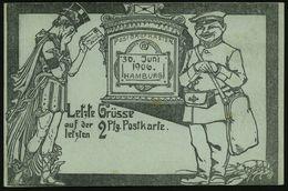 GRIECHISCHE & RÖMISCHE MYTHOLOGIE : Hamburg 1902 (30.6.) PP 2 Pf. Germania, Grau: Letzte Grüsse Auf Der 2 Pf.-Postkarte  - Mythologie