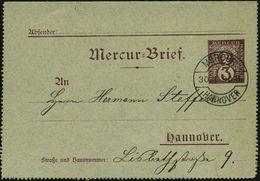 """GRIECHISCHE & RÖMISCHE MYTHOLOGIE : Hannover 1890 (30.1.) 3 Pf. Kartenbf. Privat-Stadt-Brief-Expedition """"Mercur"""", Braun: - Mythologie"""
