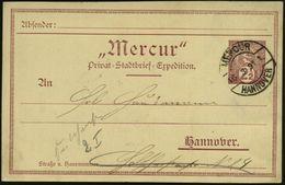 """GRIECHISCHE & RÖMISCHE MYTHOLOGIE : Hannover 1891 (16.3.) 2 1/2 Pf. Orts-P. Privat-Stadt-Brief-Expedition """"Mercur"""", Brau - Mythologie"""