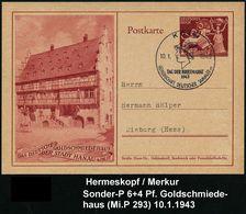 GRIECHISCHE & RÖMISCHE MYTHOLOGIE : KÖLN/ TAG DER BRIEFMARKE/ GDS 1943 (10.1.) SSt = Merkur-Kopf Auf Sonder-P 6 + 4 Pf.  - Mythologie
