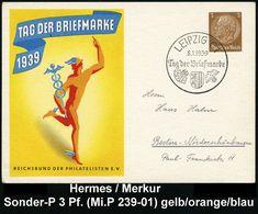 GRIECHISCHE & RÖMISCHE MYTHOLOGIE : LEIPZIG C1/ Tag Der Briefmarke 1939 (8.1.) SSt Auf Sonder-P. 3 Pf Hindenbg., Braun:  - Mythologie