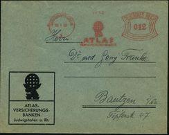 GRIECHISCHE & RÖMISCHE MYTHOLOGIE : LUDWIGSHAFEN (RHEIN)/ 1/ ATLAS/ VERSICHERUNGS-BANK 1932 (28.1.) AFS = Atlas Mit Glob - Mythologie