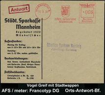 GRIECHISCHE & RÖMISCHE MYTHOLOGIE : MANNHEIM 1/ STÄDT.SPARKASSE 1939 (10.3.) AFS = Vogel Greif (= Wächter D. Goldes M.Wa - Mythologie