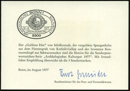 """FRÜH- & VORGESCHICHTE / PRÄHISTORIE : B.R.D. 1977 (16.8.) Archäolog. Funde, 30 Pf. """"Goldener Hut"""", 120 Pf. """"keltischer H - Préhistoire"""