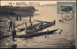 FRÜH- & VORGESCHICHTE / PRÄHISTORIE : BELGISCH-KONGO 1919 (12.8.) 10 C. BiP Braun: Einbäume Auf Dem Uele-Fluß (vs. Zusat - Préhistoire