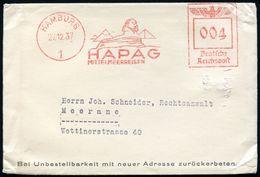 ALT-ÄGYPTEN / ASSUR / BABYLON : HAMBURG/ 1/ HAPAG/ MITTELMEERREISEN 1937 (27.12.) Seltener AFS = Sphinx, 3 Pyramiden , K - Egyptologie