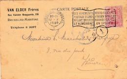 Timbre Perforé , 10 C  De 1920 , Sur Carte Pub Van Elder Frères , Bruxelles - 1909-34