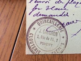 56 - PONTIVY - Cachet Quaincallerie J. GAUDRON 2 Rue Du Fil - Pontivy