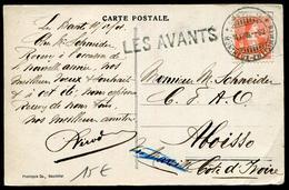 SUISSE - MARQUE LINEAIRE DE DEPART - LES AVANTS ( DIFFERENTS ) / CP OBL AMBULANT LE 18/12/1908 POUR COTE D'IVOIRE - TB - Marcofilia