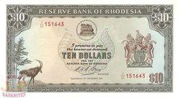 RHODESIA 10 DOLLARS 1975 PICK 33b UNC - Rhodesia