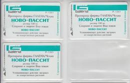 UKRAINE 1998 MEDICINE GALENA NOVO PASSIT 3 DIFFERENT CARDS - Ukraine