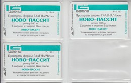 UKRAINE 1998 MEDICINE GALENA NOVO PASSIT 3 DIFFERENT CARDS - Ucraina