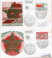"""Maroc;2 FDC 1966; TP N°498/99 """" 10ème Anniversaire De L'indépendance, Hassan II """"Morocco;Marruecos - Marokko (1956-...)"""