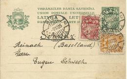 1925  Ganzsache Nr 1 Mit Zusatz. Marken Von Riga Nach Reinach, Schweiz - Lettonie