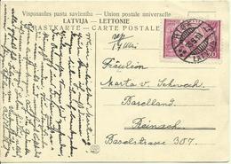 1939 Postkarte Von Riga Nach Reinach, Schweiz - Lettonie