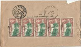 9Dp-590:5x 15c CEYLON > KOWLOON HONGKONG Op Achterkant Beschadigde Brief... Verder Uit Te Zoeken... - Ceylan (...-1947)