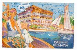 1954 YUGOSLAVIA, BELGRADE TO SOKO BANJA, RAB, ARBE, HOTEL BRISTOL, ILLUSTRATED POSTCARD, USED - Croatia