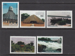 1998 Uganda Tourist Attractions Elephants Falls Chutes Complete Set Of 5 MNH - Uganda (1962-...)