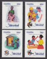 1998 Uganda UNICEF Polio Sanitation Health Education Complete Set Of 4 MNH - Uganda (1962-...)