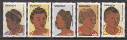 1999 Uganda Women Hairstyles Culture Complete Set Of 5 MNH - Uganda (1962-...)
