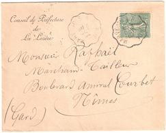 MARVEJOLS à MENDE Lettre Entête Conseil Préfecture LOZERE Convoyeur Type 2 Ob 13/10/1904 15 C Semeuse Lignée Vert Yv 130 - Railway Post