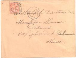 MOULINS à MACON Lettre Convoyeur Type 2 Ob 17/1/ 1912 15 C Mouchon Yv 117 - Railway Post