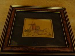 Petit Tableau Peinture Le Galion  16,5 X 14,5cm Decor Moulin - Mobili