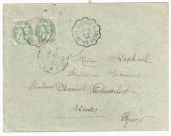 SALINS DE GIRAUD à ARLES Lettre Convoyeur Type 2 Ob 18/5/ 1906 5 C Blanc Yv 111 - Railway Post