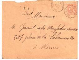 SALINS à BOURG Lettre Convoyeur Type 2 Ob 19/12/ 1901 15 C Mouchon Yv 117 - Railway Post