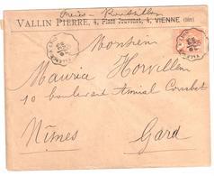 VALENCE à LYON Lettre Entête VALLIN Pierre Vienne ROUSSILLON FRERES Convoyeur Type 1 Ob 25/2/ 1901 15 C Mouchon Yv 117 - Railway Post