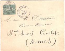 VALENCE à TARASCON Lettre Convoyeur Type 1 Ob 15/9/ 1904 15 C Semeuse Lignée Vert Yv 130 - Railway Post
