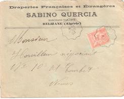ORAN à ALGER Lettre Entête Draperie Tailleur SABINO QUERCIA Relizanne Convoyeur Type 2 Ob 29/8/ 1903 15 C Mouchon Yv 125 - Railway Post