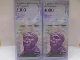 Venezuela, (2)1000 Pesos 2017, Replacement, Consecutive, Crisp, UNC, Beautiful Bill About Animals. - Venezuela