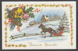 97013/ NOUVEL AN, Cheval, Traîneau Attelé, Fleurs, Pensées, Fer à Cheval, 53875 - Neujahr