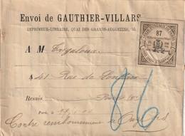 """Vignette De """"Colis Postaux De PARIS - 25c. - Cinq Kg."""" Sur étiquette De L'imprimeur GAUTHIER-VILLARS. Paris. - Lettres & Documents"""