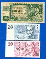 Tchéquie  3  Billets - Tchéquie