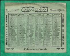 Calendrier 1948 Thumesnil (59) Magédro Fabrique De Brosses Droguerie En Gros Peintures & Vernis 2scans - Calendriers