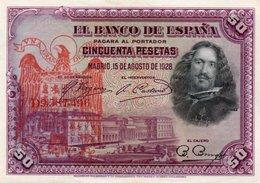 SPAIN= 1928    50  PESETAS    P-75    Aunc - [ 1] …-1931 : Prime Banconote (Banco De España)
