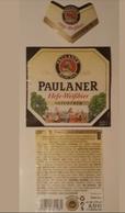 JUEGO DE 3 ETIQUETAS CERVEZA PAULANER 0.500 CL. - Beer