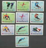 135 - Yemen Royaume  MNH ** Mi N° 454 / 463 B Jeux Olympiques (olympic Games) Grenoble 68 Hockey Non Dentelé Imperforate - Yémen