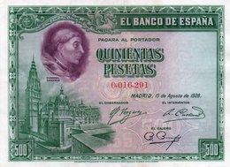SPAIN= 1928    500  PESETAS    P-77    Aunc - [ 1] …-1931 : Prime Banconote (Banco De España)
